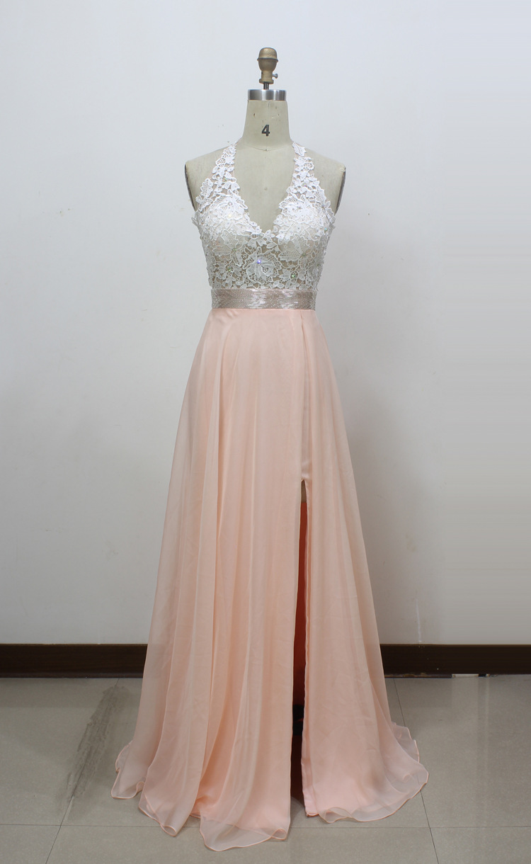 6268157a6e A-line V-neck Chiffon Long Prom Dress With Side Slit And Halter Lace ...