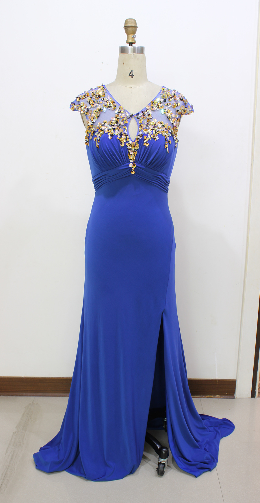 2016 Real Image Picture Evening Dresses New Cheap Sexy Royal Blue Side Slit Flower Backless Long Formal Prom Party Gowns Gowns