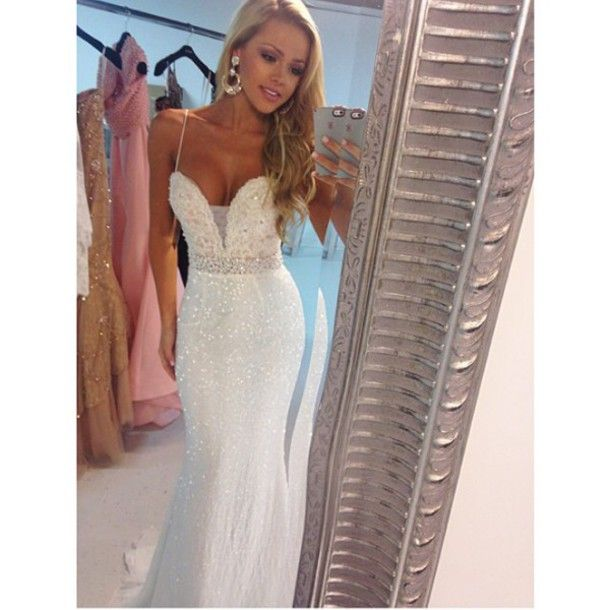 36dc1e3107c 2016 Evening Dresses New Arrival Cheap Sexy White Ivory Mermaid Sweetheart  Sequins lace Long Formal