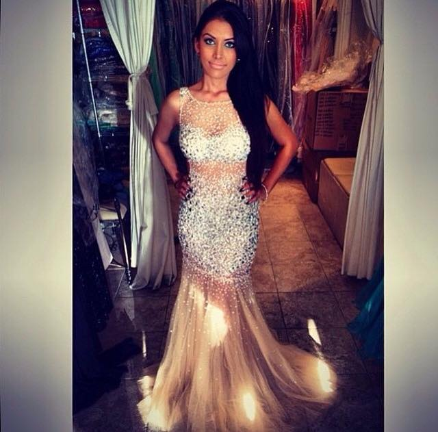 2016 Prom Dresses Cheap Sexy Mermaid Luxury Bling Sparkle Sheer ...