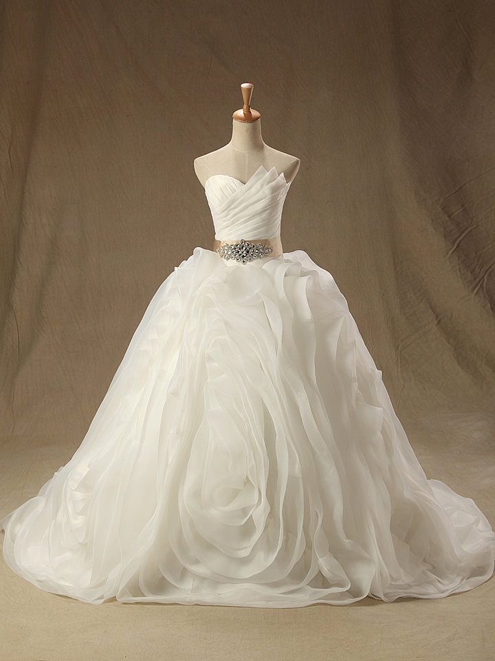 2016 Real Image Wedding Dresses Vestidos de Novia Sparkle White Ball Gown Lace Up Organza Ruched Wedding Dress Bridal Gowns