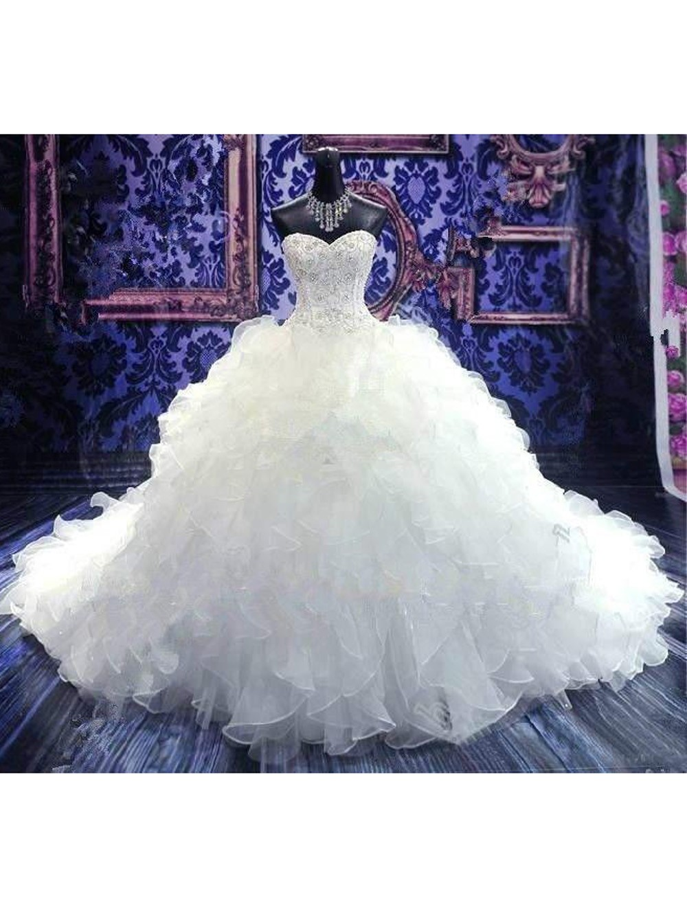 2016 Real Image Wedding Dresses Vestidos de Novia Luxury Sparkle Bling White Mermaid Sweetheart Beads Lace Up Organza Wedding Dress Bridal Gowns