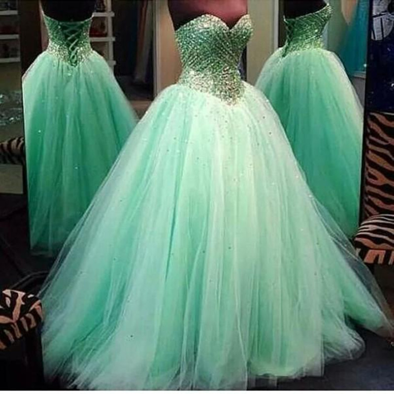 2016 Real Image Prom Dresses Luxury Sparkle Bling Ball Gown Mint ...