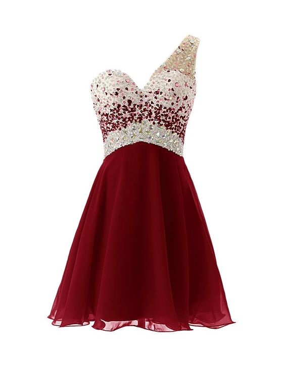 Dresstells One Shoulder Homecoming Dress With Beadings Short Bridesmaid Burgundy Prom
