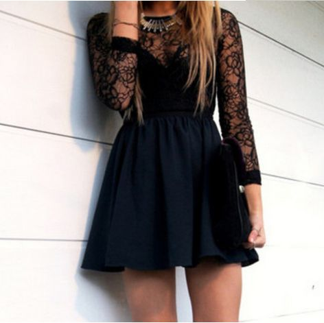 Hollow Black Homecoming Dress Long Sleeve Lace Prom Dresssexy Mini