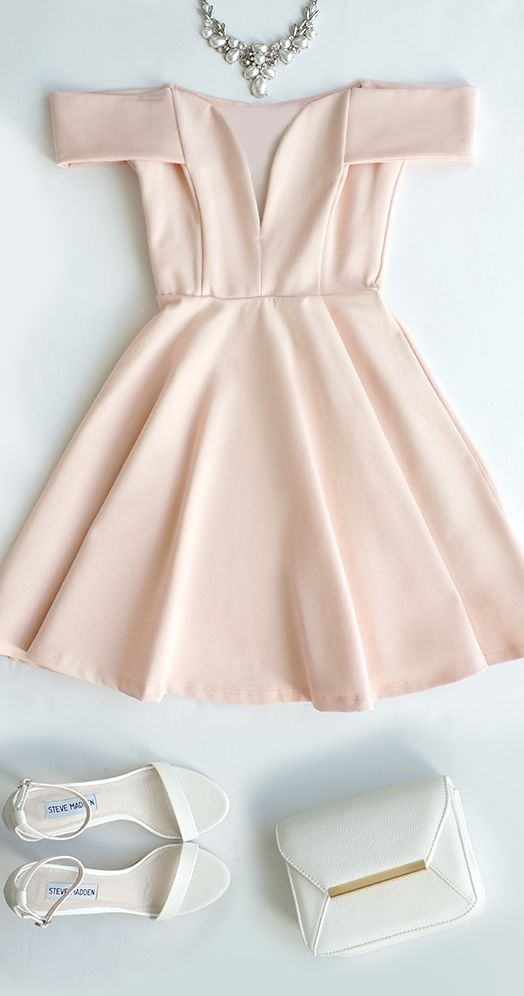 Cute Off The Shoulder Homecoming Dress Light Pink Prom Dressv Neck