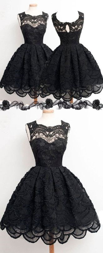 Vintage black lace homecoming dress, short sleevelessprom prom dresses, sexy hollow back prom dresses