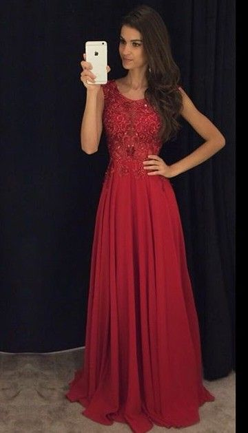 bf11316d1eb 2016 Modest Red Long Prom Dresses Sleeveless Lace Appliques Beaded Chiffon  Elegant Evening Gowns