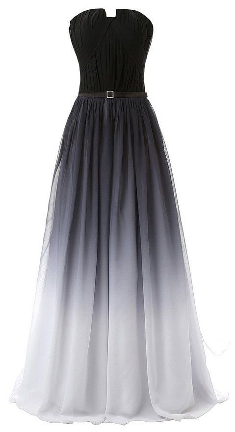 Hot Sales Navy Blue Ombre Prom Dressgradient Chiffon Long Prom