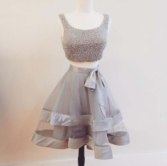 Homecoming Dress,Two Piece Homecoming Dress,Sleeveless Homecoming Dress,Organza Homecoming Dress,Cute Homecoming Dress,Junior Homecoming Dress,Cheap Homecoming Dress