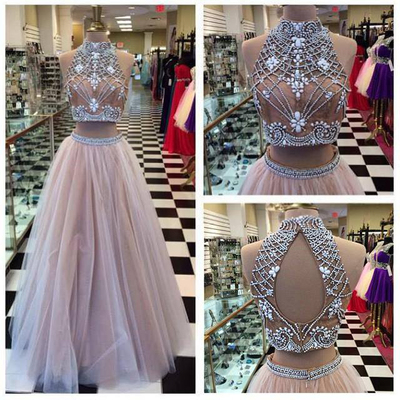 Long Prom Dress,Two Piece High Neck Prom Dress,Rhinestone Prom Dress,Open Back Prom Dress,Tulle Prom Dress,Sleeveless Prom Dress