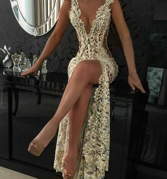 Custom Charming Beading Lace Prom Dress,Sexy Deep V-Neck Evening Dress,Sexy See Through Backless Prom Dress