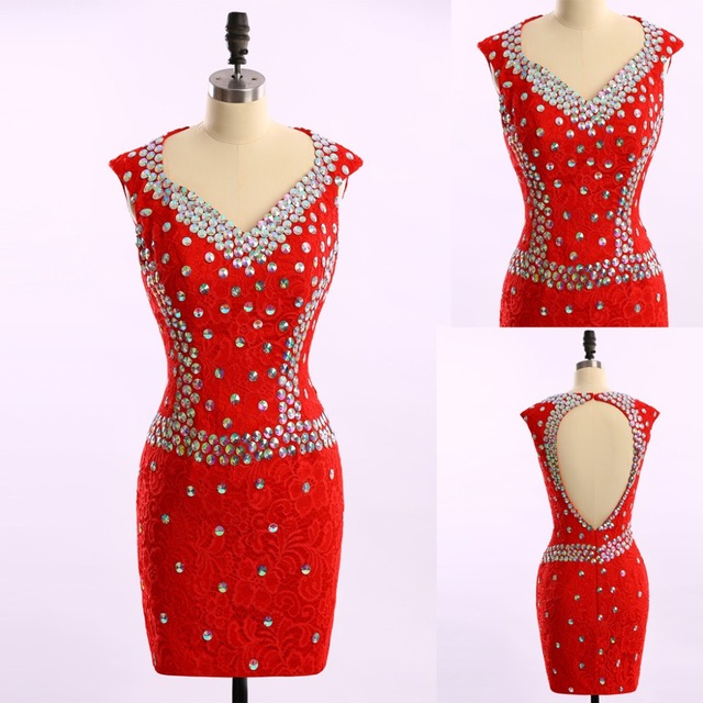 New Arrival Elegant Beaded Rhinestone Red Short Prom Dresses Homecoming Dress Short Party Gowns Dresses