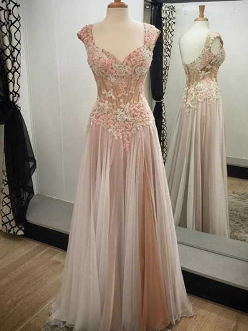 Charming Chiffon Prom Dress,Appliques Evening Dress,Noble Prom Dress ,A-Line Prom Dress