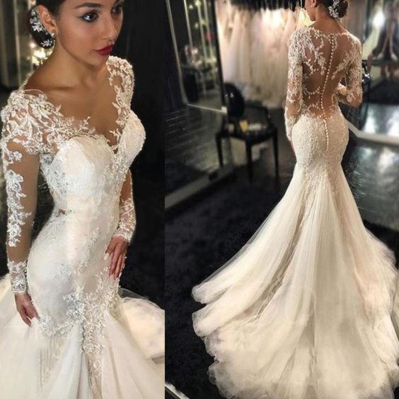 5e77845303e0 2016 Mermaid Wedding Dresses Long Sleeves Lace Beaded Sheer Back Sexy Bridal  Gowns