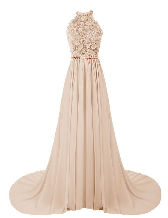 Champagne Halter Evening Dresses
