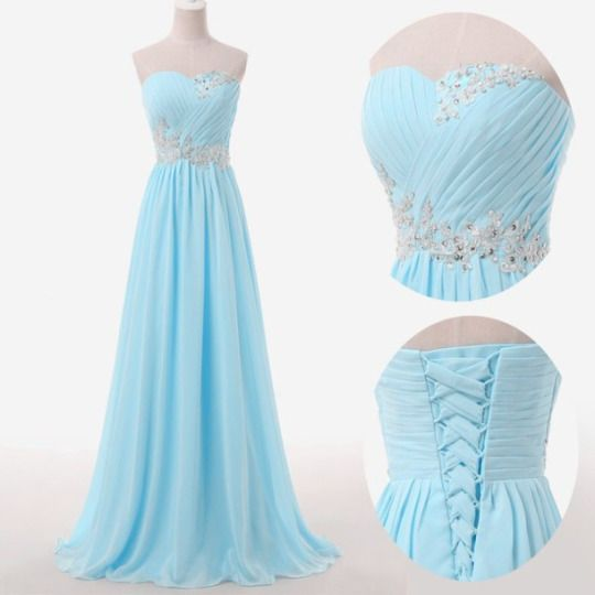 Light Blue Prom Dresses,Sweetheart Evening Gowns,Modest Formal  Dresses,Beaded Prom Dresses,2016 Fashion Evening Gown,Corset Evening Dress