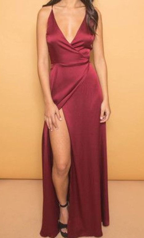 04f8817c27e92 Burgundy V-Neck Cheap Evening Dresses Spaghetti Straps Popular Long Prom  Dresses With Side Slit. Sexy Summer Dress, Summer Seaside Dress, Pool  Evening ...