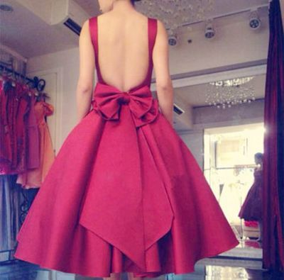 2017 Custom made A-line red bow prom dress,short prom dress,sexy backless evening dress