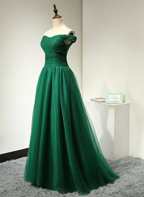 2017 Custom Made Charming Green Prom Dress,Tulle Prom Dress,Off the Shoulder Prom Dress,Noble prom Dress,A-Line Evening Dress
