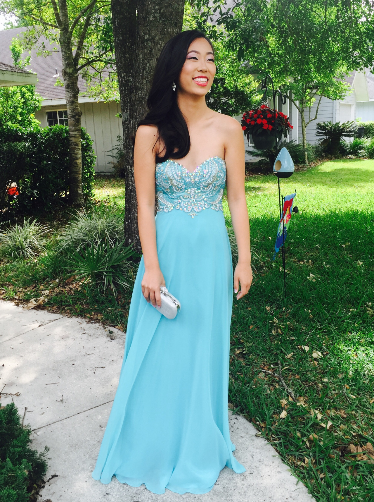 2017 Custom Made High Blue Chiffon Quality Prom Dress,Chiffon Prom Dress,Beading Prom Dress,Sweetheart Bridesmaid Dress, Charming Prom Dress