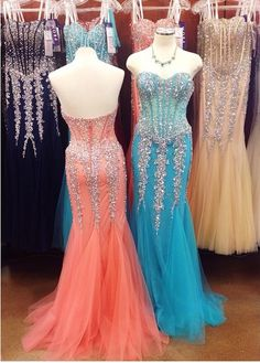 2017 Custom Made Charming Tulle Beading Prom Dress,Sweetheart Evening Dress,Sleeveless Prom Dress
