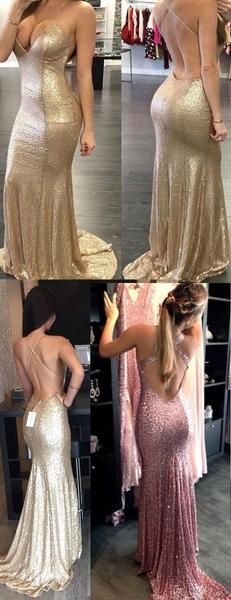2017 Custom Made Charming Sequins Prom Dresses,Spaghetti Straps Prom Dress,Sexy Backless Evening Dress