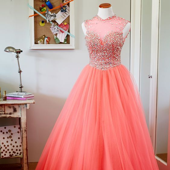 2017 Custom Made Popular Hot Pink Prom Dresses,Sleeveless Evening Dresses, Beading Evening Dress