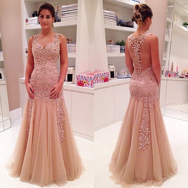 2017 Custom Charming Blush Pink Prom Dress, Tulle Evening Gown ...