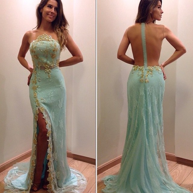 13745e70a32a 2017 Custom Charming Mint Green Prom Dress,See Through Back Sexy Evening  Gown, Side