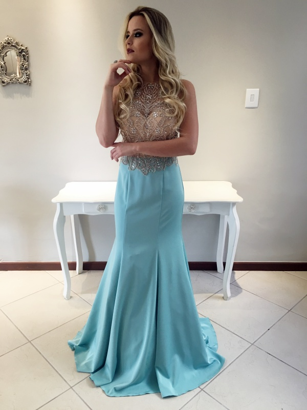 2017 Custom Made Light Blue Prom Dress,Shiny Beaded Evening Dress,Sleeveless Party Gown,Mermaid Prom Dress,High Quality