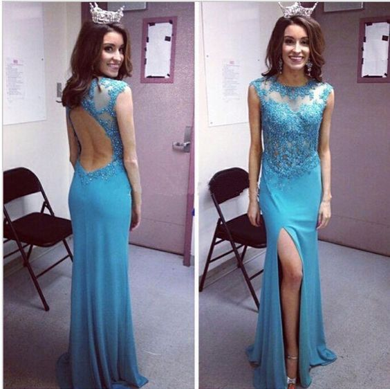 2017 Custom Made BlueBeading Prom Dress,Sexy See Through Back Evening Dress,Mermaid Side Slit Party Gown, High Quality