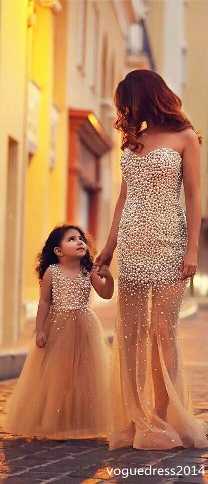 2017 New fashion beaded champagne tulle mother prom dress and flower girl dress,sweetheart evening prom dress