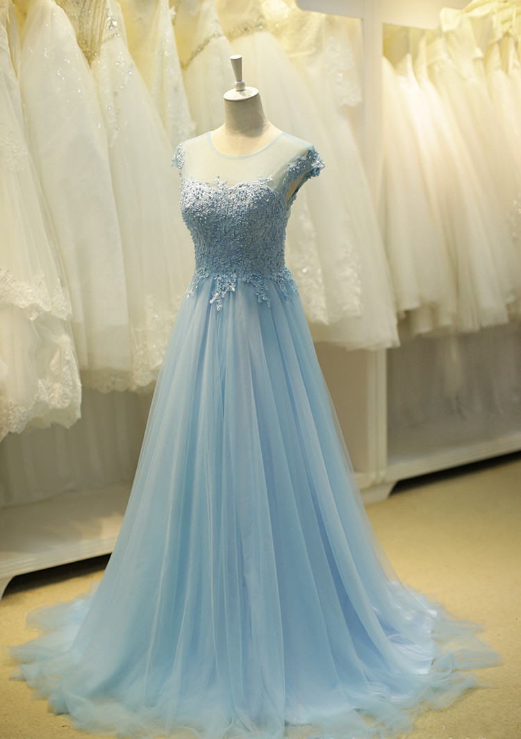 Elegant 2016 Prom Dresses, A line Blue Evening Dress, Beaded Prom Dress, Wedding Guest Dress, Bridesmaid Dress