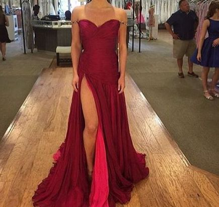 2017 Custom Made Burgundy Prom Dress,Sexy Sweetheart Evening Dress,Off The Shoulder Party Dress,Side Slit Prom Dress,High Quality