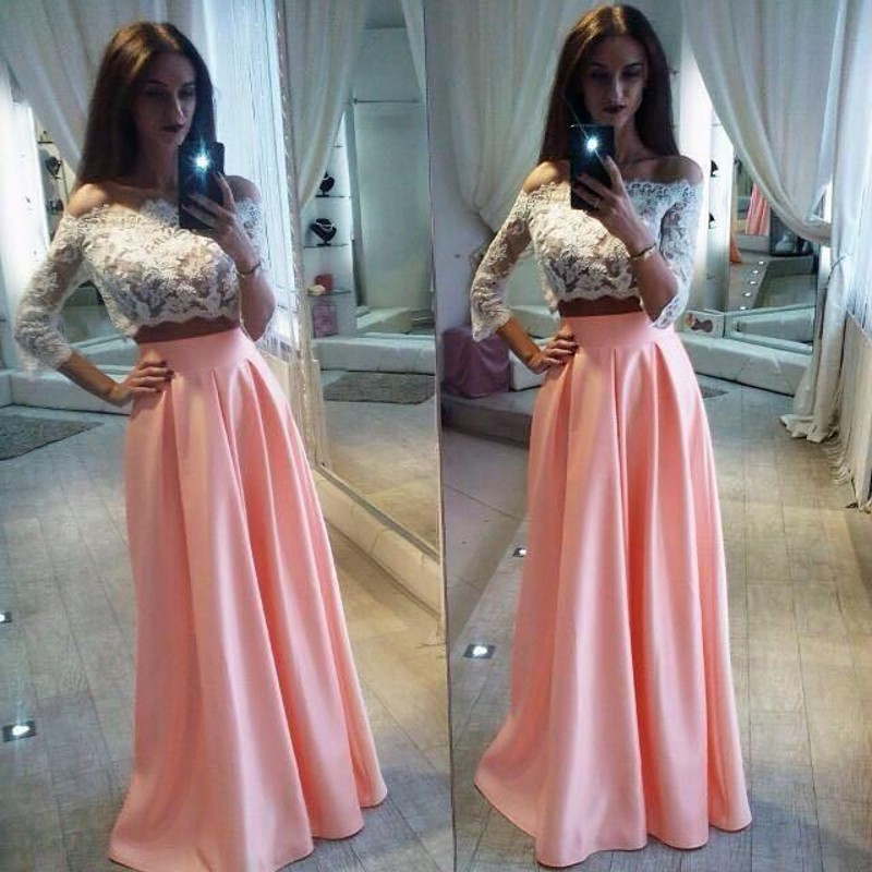 Blush Pink Prom Dresses,3/4 Sleeves Lace Prom Dress,Pretty Girly A ...