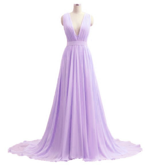Beautiful V-neckline Chiffon Lavender Long Prom Dress, Custom Lavender Party Dresses, Long Prom Dresses
