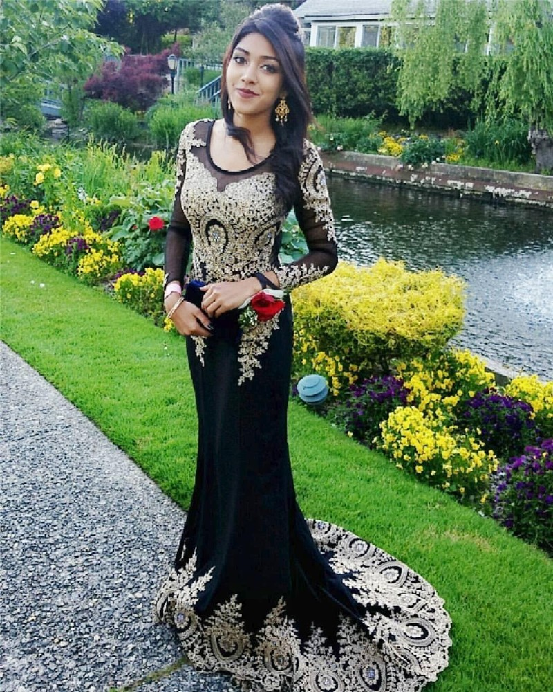 Women's Embroidery Lace Prom Dress Mermaid Evening Gown Formal ChiffonProm Gown Rhinestone Long Sleeve Evening Dresses
