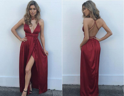 Charming Prom Dress,Satin Prom Dress ,V-Neck Prom Dress,Halter Prom Dress