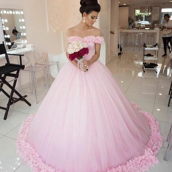 Wedding Gowns In Pink: Pink Wedding Dress,Simple Wedding Dress,Off The Shoulder