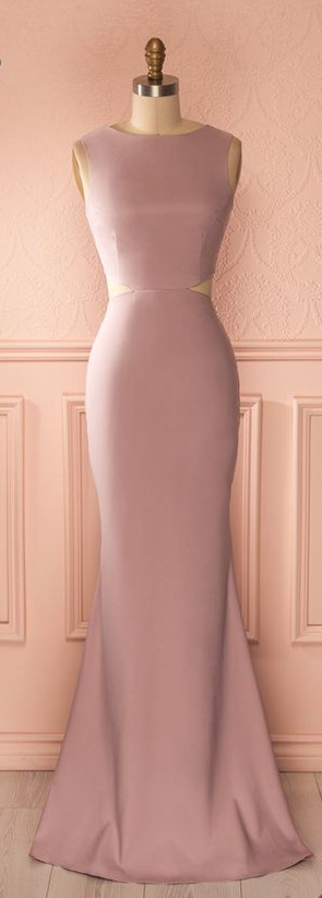 Dusty Rose Prom Dress,Mermaid Prom Dress,Midriff Prom Dress,Fashion Prom Dress,Sexy Party Dress, 2017 New Evening Dress