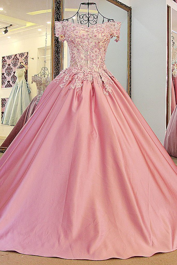 Peach Satins Lace Off-shoulder A-line Applique Long Ball Gown Dress ...