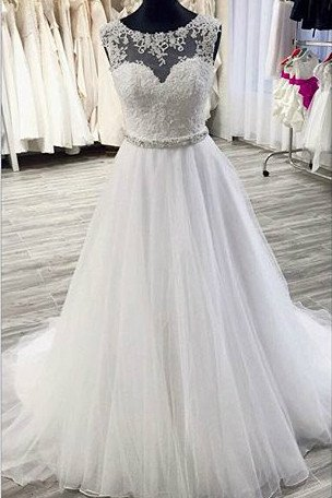 White organza lace see-through A-line long ball gown dress for teens,wedding dresses