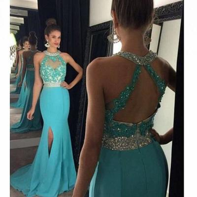 2017 Mermaid Long Prom Dress, Blue Long Prom Dress with Open Back