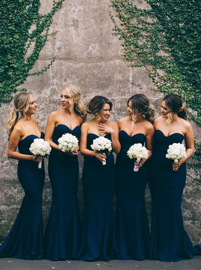 2f73d3cfbdaa Gorgeous Mermaid Long Navy Blue Strapless Bridesmaid Dress on Luulla