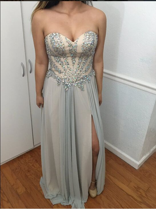 Beaded Embellished Sweetheart Floor Length A-Line Wedding Guest Dress Featuring Slit