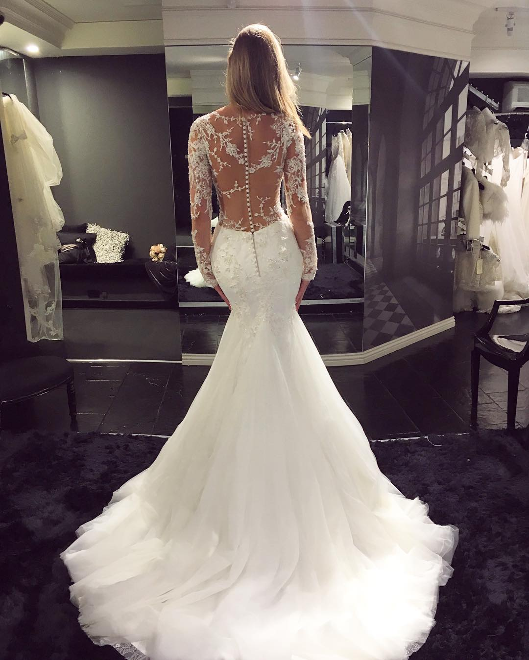 Mermaid Wedding Gowns With Sleeves: V-Neck Lace Appliqués Mermaid Wedding Dress With Long