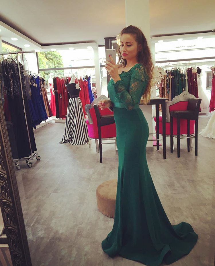 Dark Green Off The Shoulder Mermaid Prom Gown,Charming Prom Dress ...