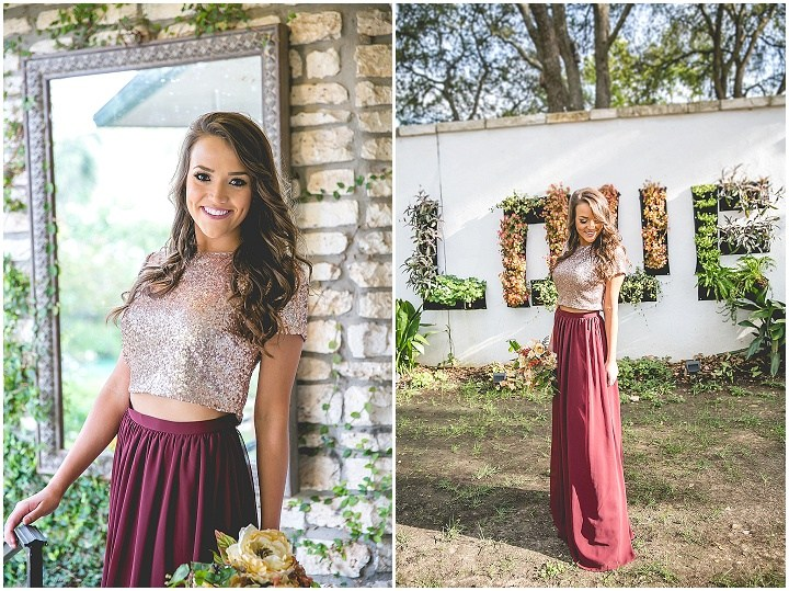 Two Piece Bridesmaid Dress,2017 Long Bridesmaid Dress, Burgundy Bridesmaid Dress with Sequins Top