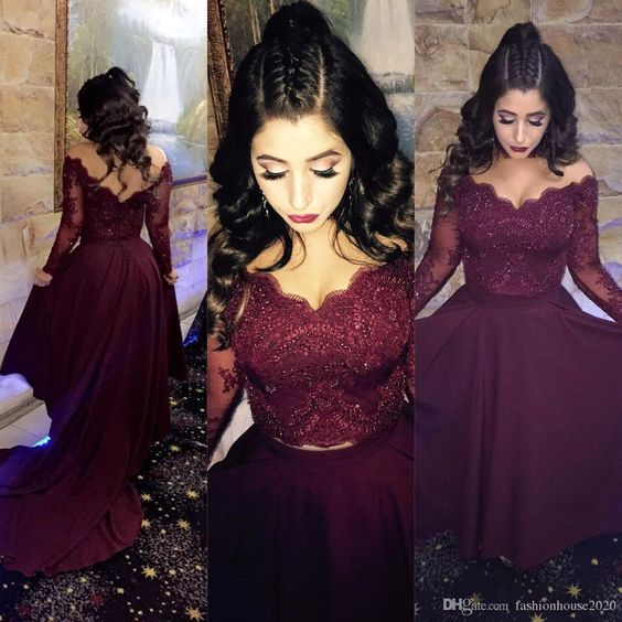 Burgundy Lace Long Sleeve Formal Evening Gowns V Neck Crystal Arabic ...